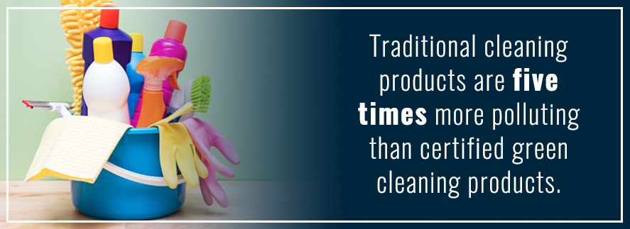 Traditional cleaning products 5 times more polluting than green cleaning products