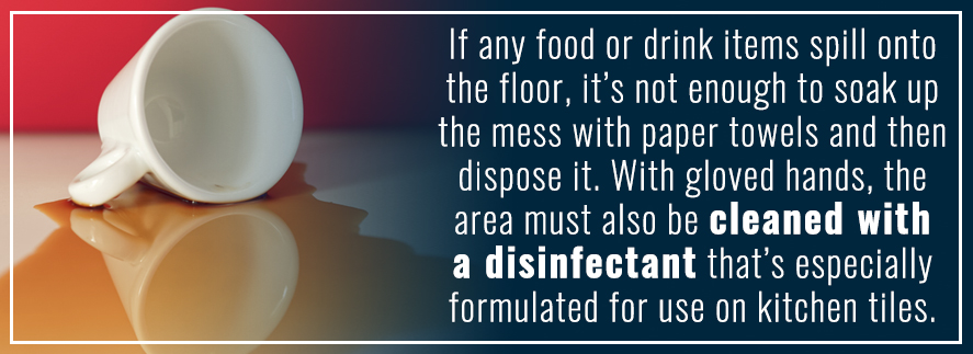 Properly disinfect restaurant food spills
