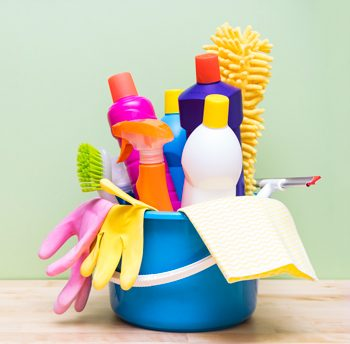 bucket of commercial cleaning supplies